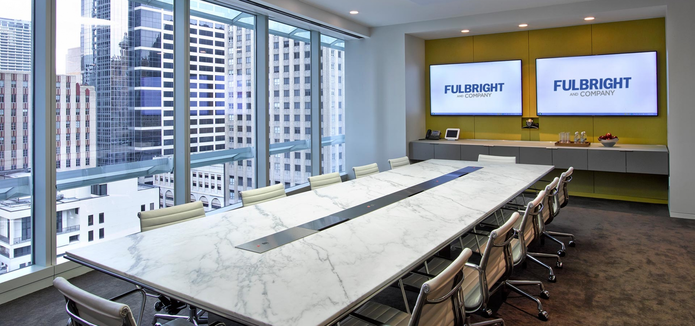 White marble meeting table combined with - Reedsmith Conference Room Table