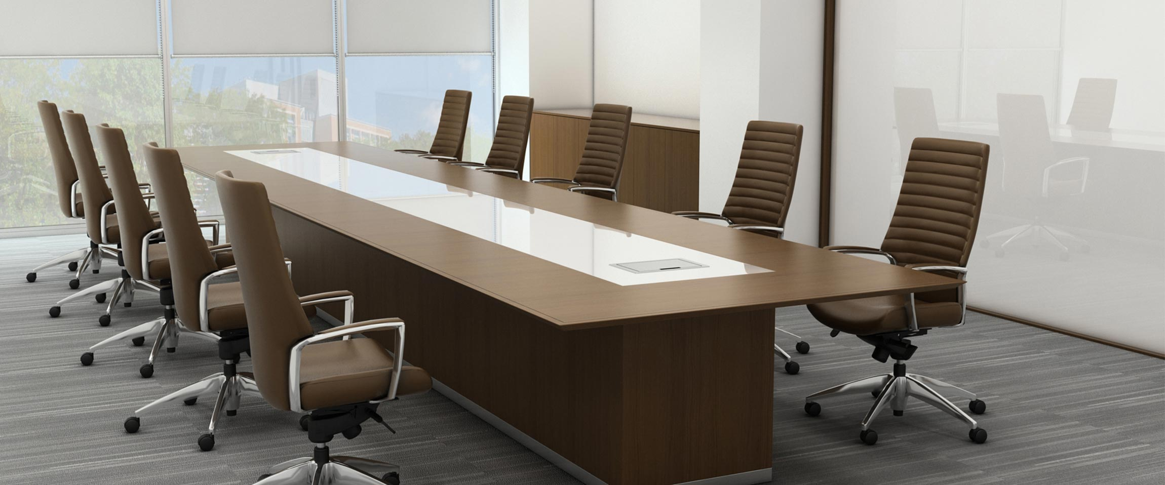 Conference Table Brownchairs Oak Glass Dining Chairs